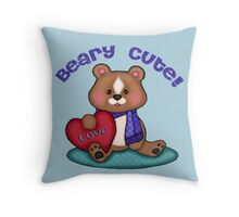 Beary Cute Teddy Bear Art Design Throw Pillow
