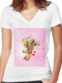 Valentine Cupid Hunk Women's Fitted V-Neck T-Shirt