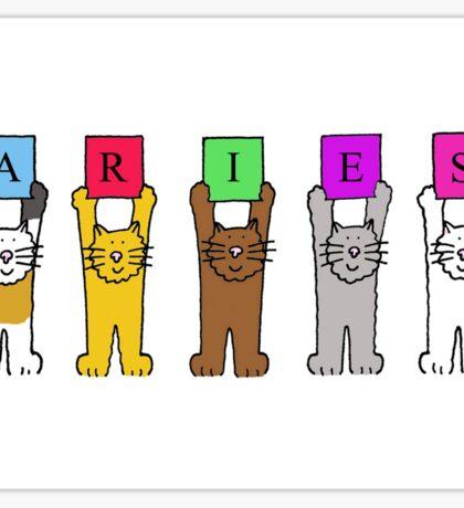 Aries birthday greetings with fun cartoon cats. Sticker