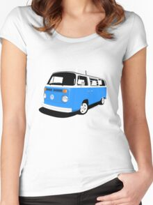VW Camper Late Bay mid-blue and white Women's Fitted Scoop T-Shirt