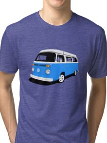 VW Camper Late Bay mid-blue and white Tri-blend T-Shirt