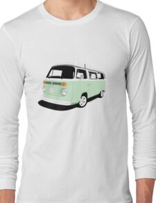 VW Camper Late Bay pale green and white Long Sleeve T-Shirt