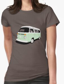 VW Camper Late Bay pale green and white Womens Fitted T-Shirt