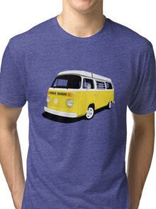 VW Camper Late Bay yellow and white Tri-blend T-Shirt