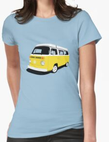 VW Camper Late Bay yellow and white Womens Fitted T-Shirt