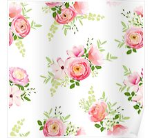 Delicate bunch of spring fresh flowers. Rose, ranunculus, magnolia, peony seamless vector print Poster