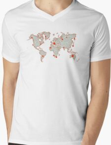 World map Mens V-Neck T-Shirt