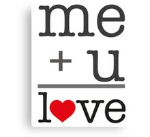 me + u = love V.1.1 Canvas Print