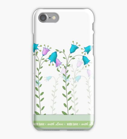 """Horizontal seamless pattern """"Summer Flower"""" with Love inscription iPhone Case/Skin"""