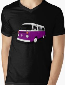 VW Camper Late Bay purple and white Mens V-Neck T-Shirt
