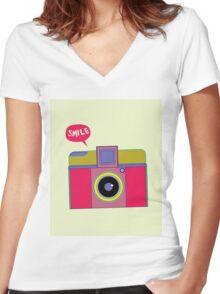 smile camera Women's Fitted V-Neck T-Shirt