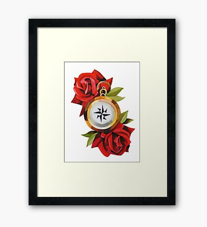 Rose & Compass Traditional Framed Print