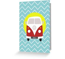 VW Campervan and Chevron Greeting Card