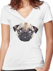 Pug Diamonds Women's Fitted V-Neck T-Shirt