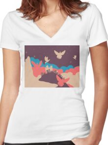 Pigeon in the Clouds 2 Women's Fitted V-Neck T-Shirt