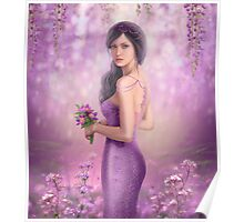 Spring Illustration beautiful Fantasy woman with purple flowers in sakura background Poster