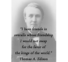 Friends In Overalls - Thomas Edison Photographic Print