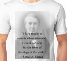 Friends In Overalls - Thomas Edison Unisex T-Shirt