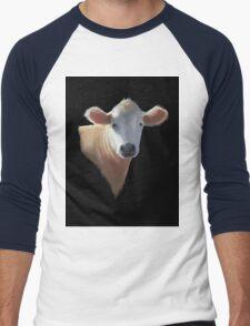 Sweet Brown Cow on Black: Oil Pastel Art Men's Baseball ¾ T-Shirt