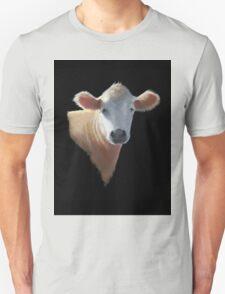 Sweet Brown Cow on Black: Oil Pastel Art T-Shirt