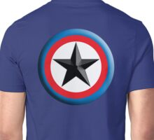 Bulls Eye, STAR, Right on Target, Roundel, Archery, on Dark Blue Unisex T-Shirt