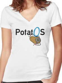 Potato GladOS Women's Fitted V-Neck T-Shirt