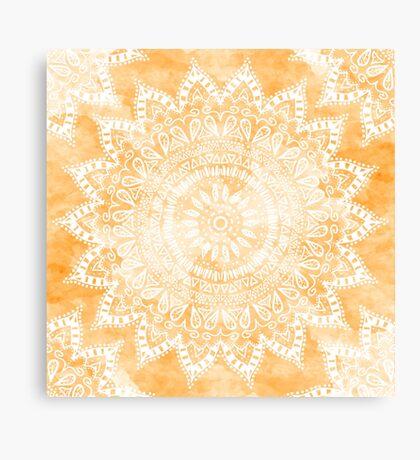 TANGERINE BOHEMIAN FLOWER MANDALA Canvas Print