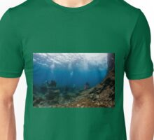 Divers explore natural caves and rocks in the Mediterranean sea off the coast of Larnaca, Cyprus,  Unisex T-Shirt