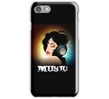Beautiful woman listening to music with headphones  iPhone Case/Skin
