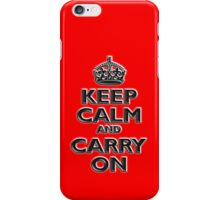 KEEP CALM, Keep Calm & Carry On, British, UK, Britain, Blighty, Chisel on Red iPhone Case/Skin