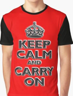 KEEP CALM, Keep Calm & Carry On, British, UK, Britain, Blighty, Chisel on Red Graphic T-Shirt