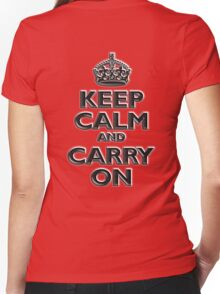 KEEP CALM, Keep Calm & Carry On, British, UK, Britain, Blighty, Chisel on Red Women's Fitted V-Neck T-Shirt