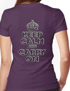KEEP CALM, Keep Calm & Carry On, British, UK, Britain, Blighty, Chisel on Red Womens Fitted T-Shirt