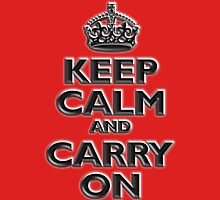KEEP CALM, Keep Calm & Carry On, British, UK, Britain, Blighty, Chisel on Red Unisex T-Shirt