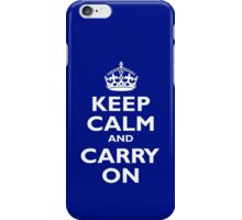 KEEP CALM, Keep Calm & Carry On, Be British! White on Royal Blue iPhone Case/Skin