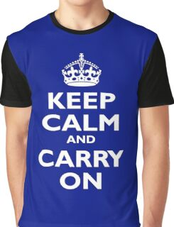 KEEP CALM, Keep Calm & Carry On, Be British! White on Royal Blue Graphic T-Shirt