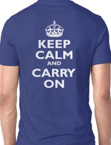 KEEP CALM, Keep Calm & Carry On, Be British! White on Royal Blue Unisex T-Shirt