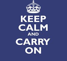 KEEP CALM, Keep Calm & Carry On, Be British! White on Royal Blue Womens Fitted T-Shirt