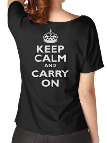 KEEP CALM, Keep Calm & Carry On, Be British! Blighty, UK, United Kingdom, white on black Women's Relaxed Fit T-Shirt