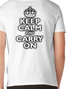 KEEP CALM, Keep Calm & Carry On, Be British! Blighty, UK, United Kingdom, white on black Mens V-Neck T-Shirt