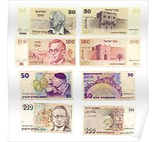 Obsolete Israeli bank notes 50 and 100 Old Shekel  Poster