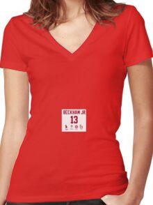 Odell Beckham Funny Stats Women's Fitted V-Neck T-Shirt