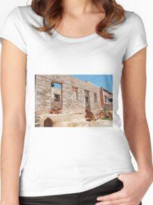 Derelict building, Halki Women's Fitted Scoop T-Shirt