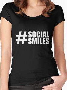 #SOCIALSMILES - for dark background 002 - PLATFORM58 Women's Fitted Scoop T-Shirt