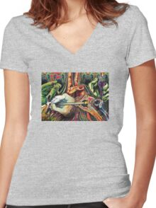 Hands Women's Fitted V-Neck T-Shirt