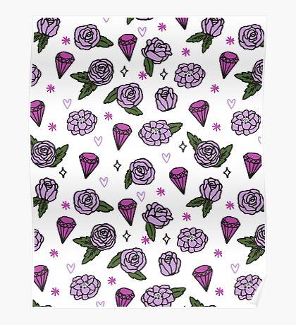 Flowers Diamonds Gems Hearts valentines// pastel purple lilac pink andrea lauren Poster