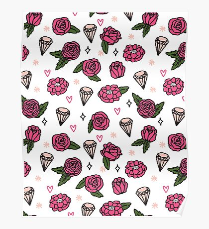 Flowers Diamonds Gems Hearts valentines// pastel pink rose andrea lauren Poster