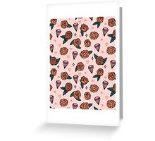 Flowers Diamonds Gems Hearts valentines// pastel pink red andrea lauren Greeting Card