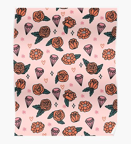Flowers Diamonds Gems Hearts valentines// pastel pink red andrea lauren Poster