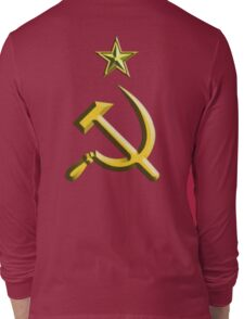 RUSSIA, USSR, Communist, Soviet Union, Hammer & Sickle, GOLD on RED Long Sleeve T-Shirt